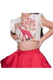 Red Embroidered Giraffe Top with Layered Ghagra