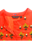 Red floral embroidered top with pant