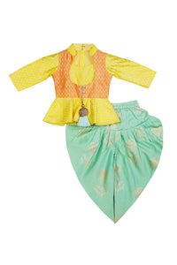 Sunny Glow Peplum Top with Dhoti