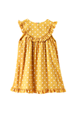 Button down dot print dress with frill at yoke and bottom