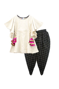 Cream ruffle sleeves top and black dhoti