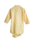 Beige drape kurta with red churidar
