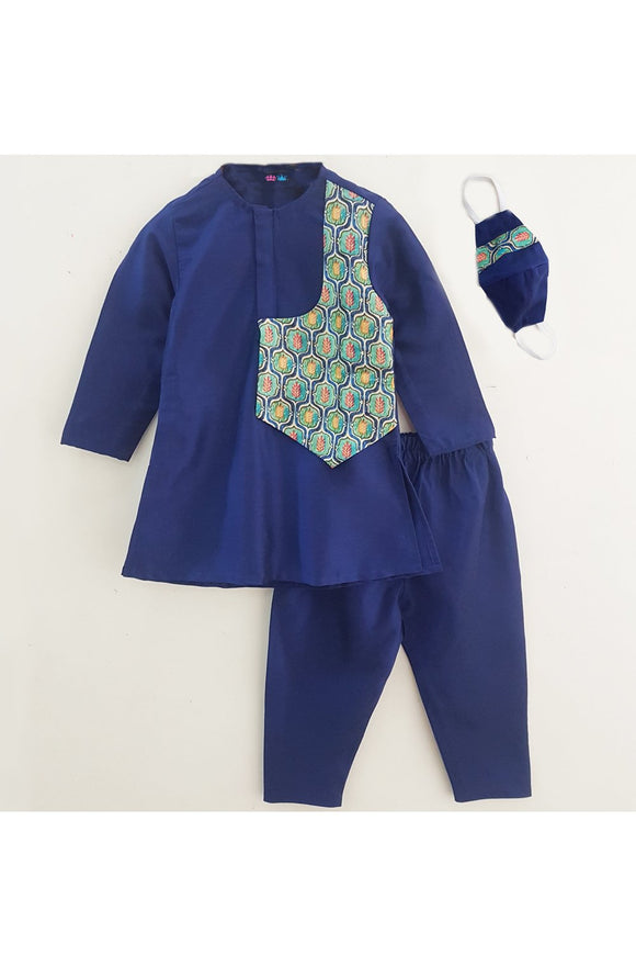 Royal navy blue kurta and pyjama with mask