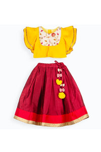 Yellow embroidered ruffle sleeves top and maroon lehenga! Get the Best Designer Lehenga Sets for Baby Girls, Designer Choli Ghagra Sets for Baby Girls, Designer Lehenga Choli Sets for Girls, Designer Lehenga Choli for kids, Lehenga for Girls, Ghagra for Girls, Ethnic wear for Girls, Indian Wear for Girls, Designer Ghagra for Kids