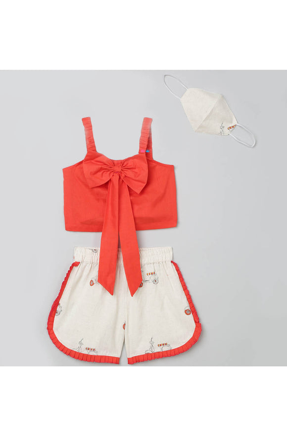 Coral bow top and printed shorts with matching mask