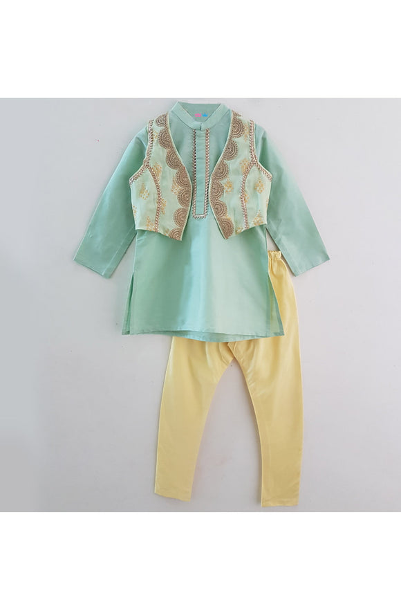 Aqua green kurta with embroidered jacket and yellow churidar