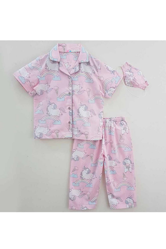 Pink unicorn printed night suit with mask