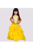 Golden sequins top with layered skirt! Get the Best Designer Lehenga Sets for Baby Girls, Designer Choli Ghagra Sets for Baby Girls, Designer Lehenga Choli Sets for Girls, Designer Lehenga Choli for kids, Lehenga for Girls, Ghagra for Girls, Ethnic wear for Girls, Indian Wear for Girls, Designer Ghagra for Kids