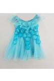 Turquoise blue 3D flowers dress