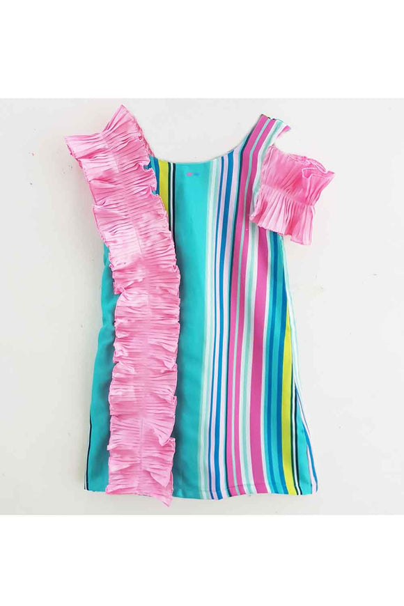 Multi color one piece stripes dress! Designer Dresses for Girls, Designer Dresses for Baby Girls, Designer Partywear Dresses for Girls, Party Dresses for Girls, Smart Partywear Dresses for Girls, Designer Party Dresses for Girls