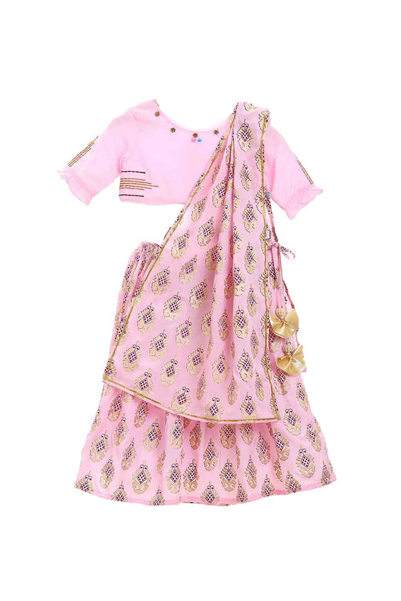 Organic floral embroidered pink choli lehenga set