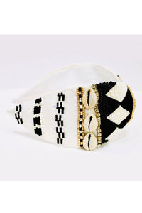 Black and white embroidery hairband