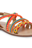 Root tan multi sandals! Footwear for girls, Flip flop for girls, designer sandals for girls, belly shoes for girls, designer kolhapuri flats