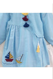 Boats embroidered tunic with straight pyjama set