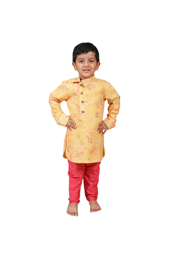 Mustard floral kurta with churidar set