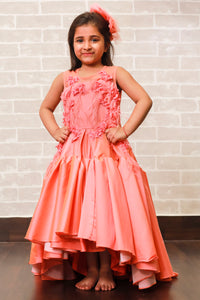 Peach Heavy-Frill  Hi-Low Gown