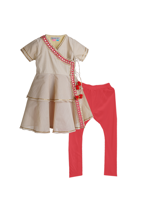 Organic Angrakha Style Kurta With Gota Embroidery and Pompoms with Matching Tights