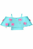 Mint Green Off Shoulder Small Bows Crop Top