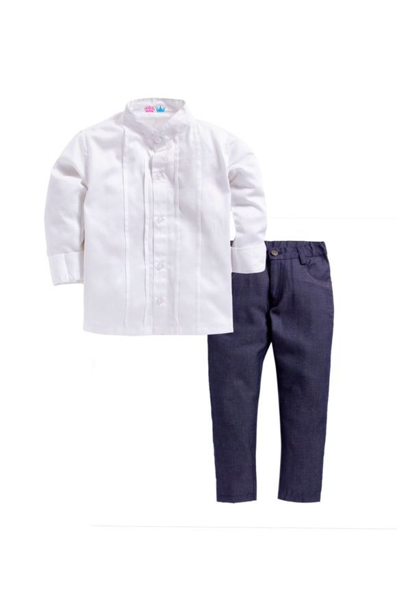 White shirt with denim pants set