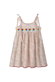 Peach Knee Length Singlet Dress Heart Embroidery