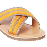 Lobster orange and grey slide sandals