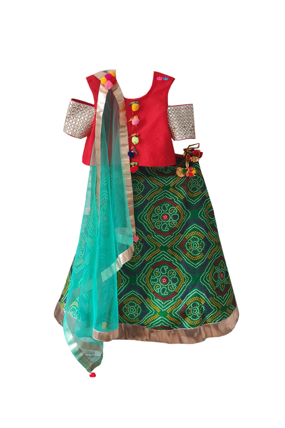 Red and Green Bandhani Print Off-Shoulder Lehenga Choli