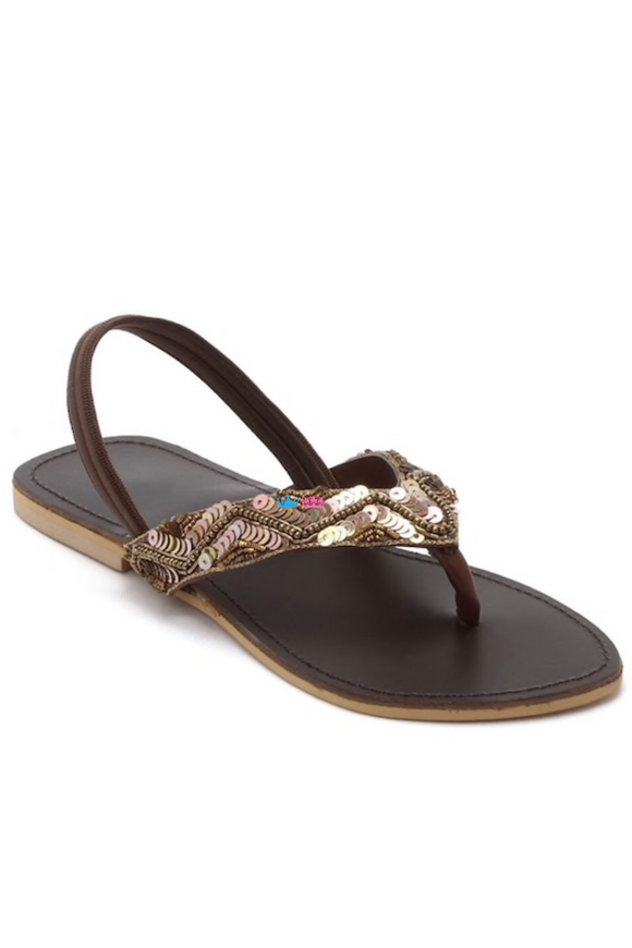 Brown embroidered flats
