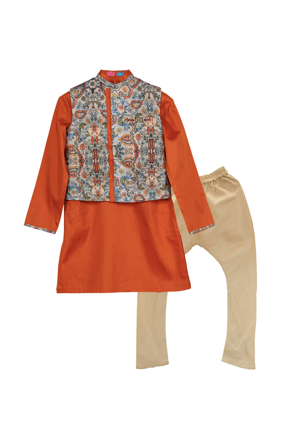 Katha Print Jacket With Orange Kurta And Churidar