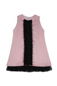 Baby pink A-line dress with center pleated black frill