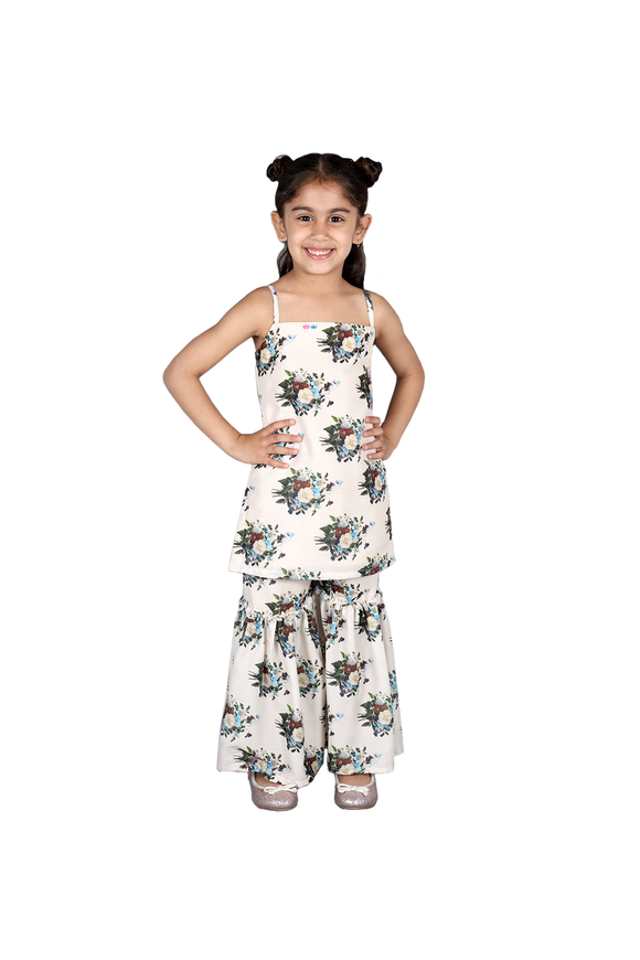 White floral print sharara set