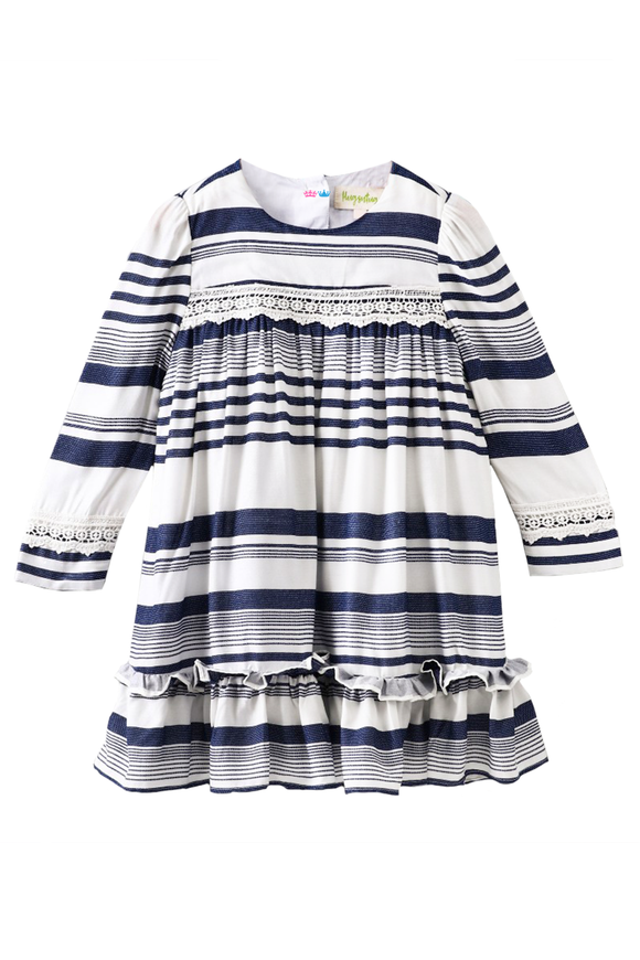 Engineered striped print dress with lace