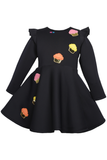 Black party wear dress with handcrafted cupcake applique