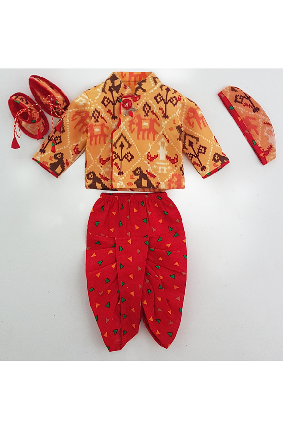 Bird muslin printed kurta with cotton dhoti