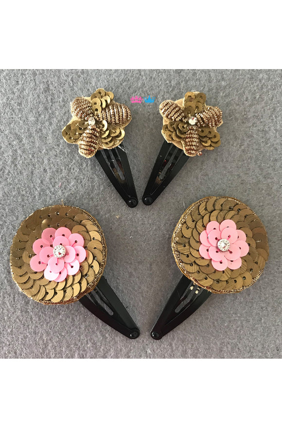 Flower theme hair clips