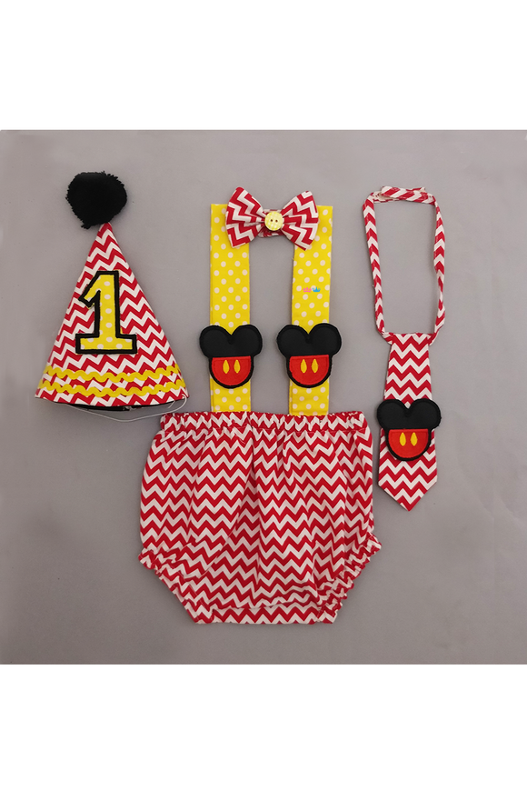 Mickey Mouse smash cake outfit for boys