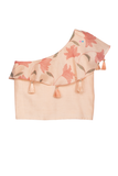 Peach printed one shoulder top with striped palazzo
