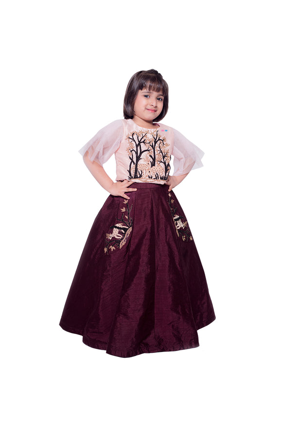 Embroidered Deer Top with Ghagra