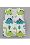 White dinosaur printed waist coat with sky blue shirt
