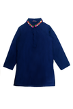 Navy blue kurta and jacket with white churidar
