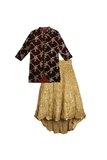 Maroon velvet jacket with trail lehenga