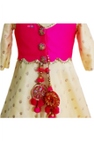 Lemon yellow anarkali with foil work paired with pink koti jacket