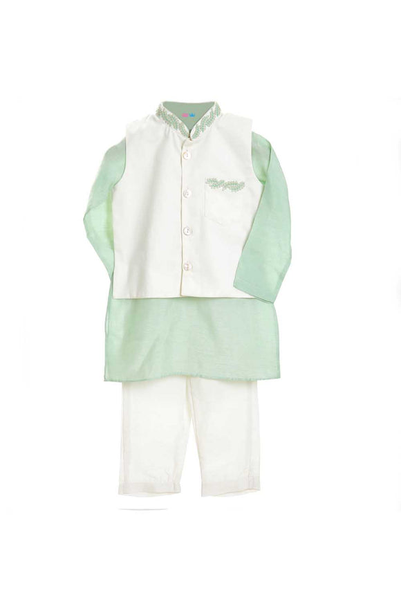 Organic mint green embroidered kurta with white jacket and pajama