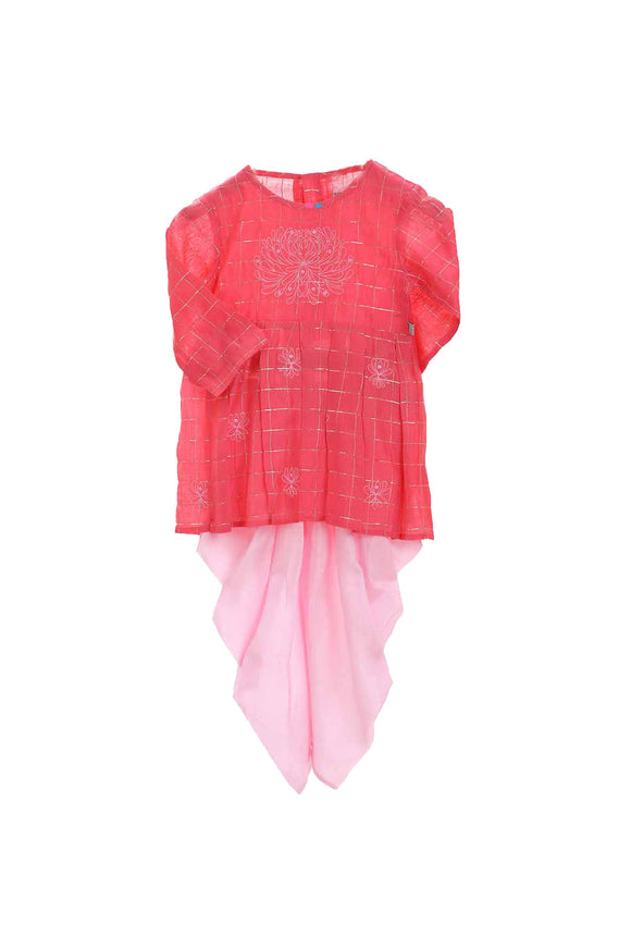 Organic red peplum style top and pink dhoti