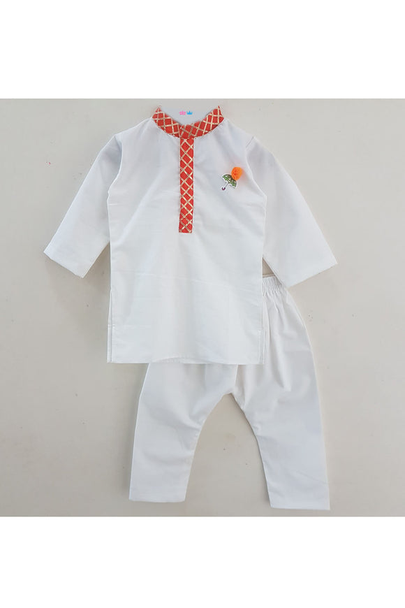 White kurta and pyjama with gota detailing