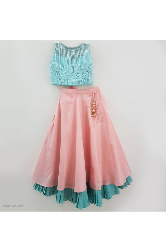 Light blue embroidered net top with peach skirt! Get the Best Designer Lehenga Sets for Baby Girls, Designer Choli Ghagra Sets for Baby Girls, Designer Lehenga Choli Sets for Girls, Designer Lehenga Choli for kids, Lehenga for Girls, Ghagra for Girls, Ethnic wear for Girls, Indian Wear for Girls, Designer Ghagra for Kids
