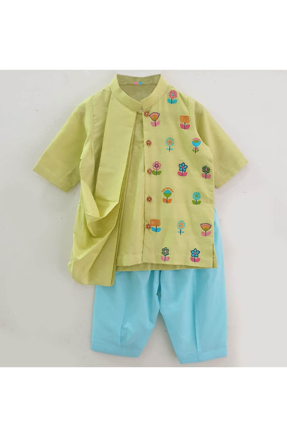 Multicolor flowers embroidered kurta with pyjama for kids