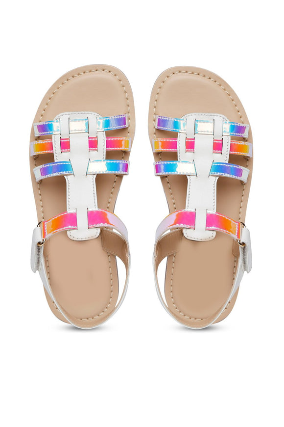 Shine white multi sandals! Footwear for girls, Flip flop for girls, designer sandals for girls, belly shoes for girls, designer kolhapuri flats