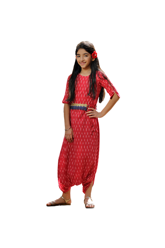 Crimson Blush Dhoti Jumpsuit - Red