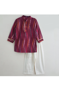 Purple ikat cotton printed kurta pyjama set