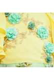 Sea Green Layered Organza Lehenga With Yellow Crop Top